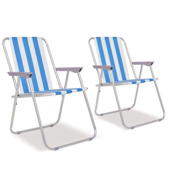 Campingstoelen inklapbaar 52x62x75 cm staal blauw en wit 2 st