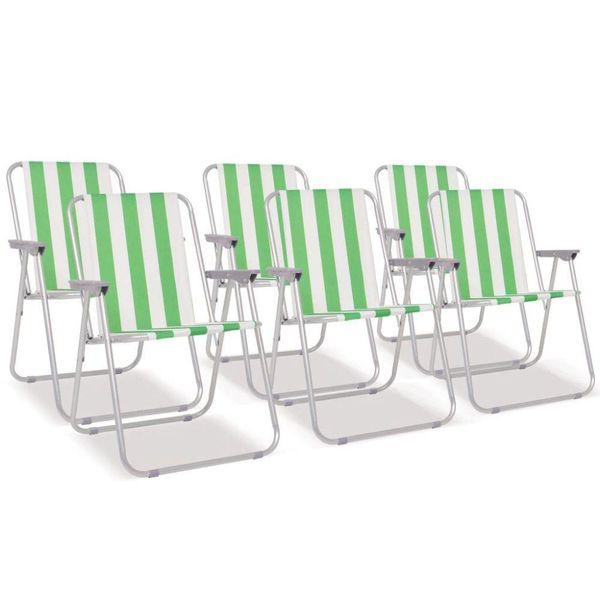 Campingstoelen inklapbaar staal groen en wit 6 st