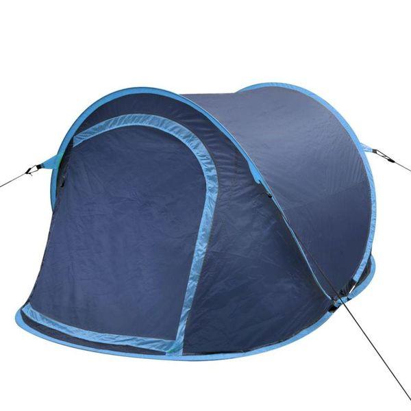 Pop-up kampeertent voor 2 personen marineblauw/lichtblauw
