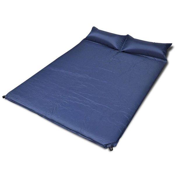 Slaapmat zelfopblazend blauw 190 x 130 x 5 cm (dubbel)