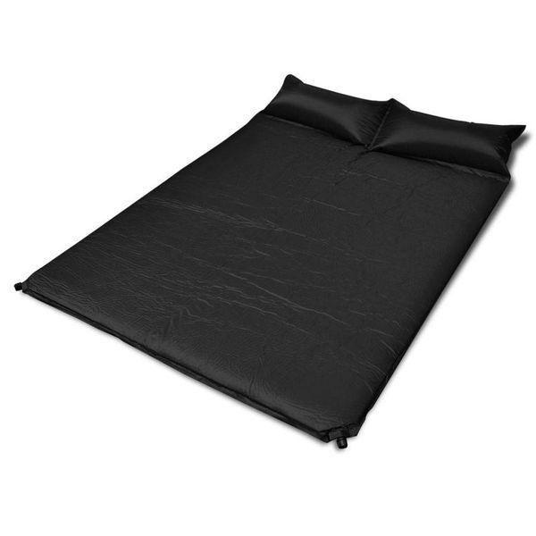 Slaapmat zelfopblazend zwart 190 x 130 x 5 cm (dubbel)
