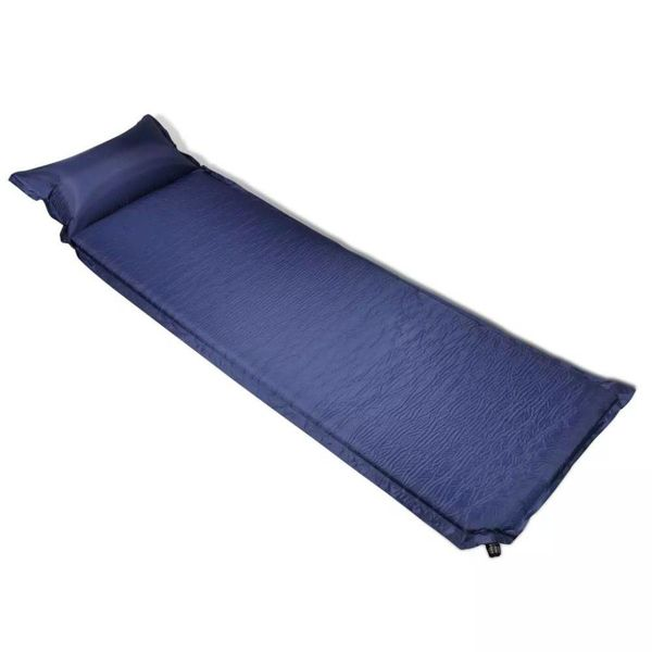 Luchtmatras 6 x 66 x 200 cm blauw met opblaasbaar kussen