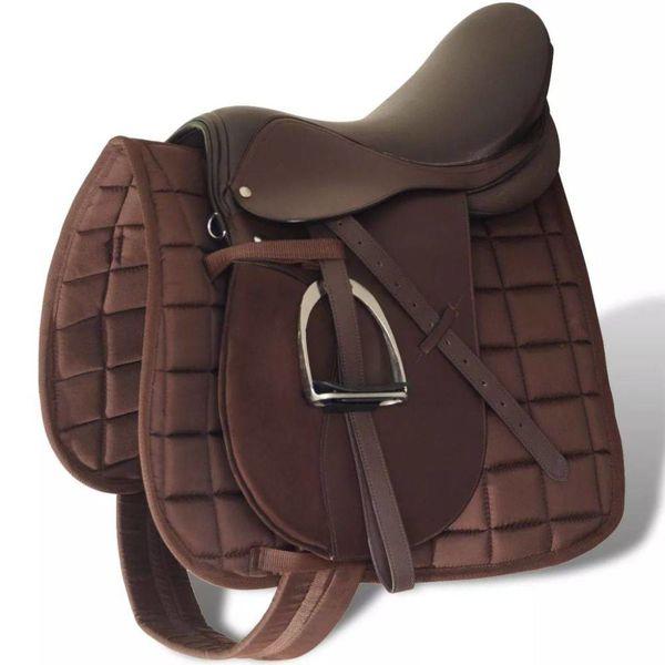 """Echt lederen paardrijzadel 17,5"""" 18 cm (5-in-1 set, bruin)"""
