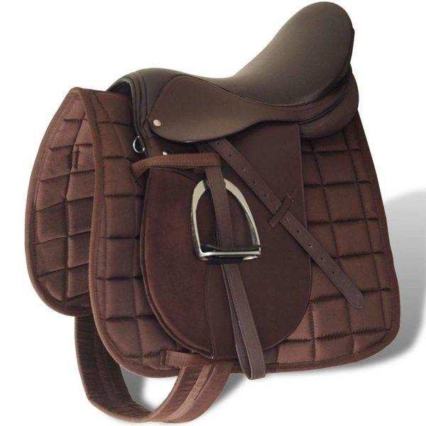 """Echt lederen paardrijzadel 16"""" 14 cm (5-in-1 set, bruin)"""