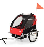 vidaXL Fietskar voor kinderen en wandelwagen 2-in-1 zwart en rood