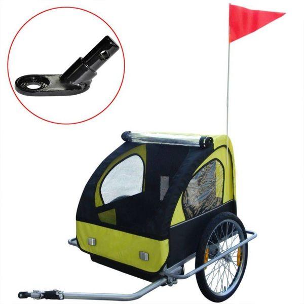 Kinderaanhangwagen met extra aansluiting geel 36 kg
