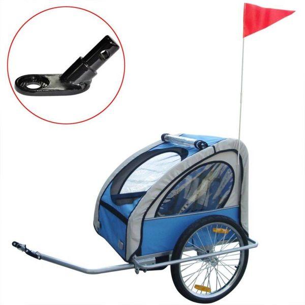 Kinderaanhangwagen met extra aansluiting blauw 36 kg