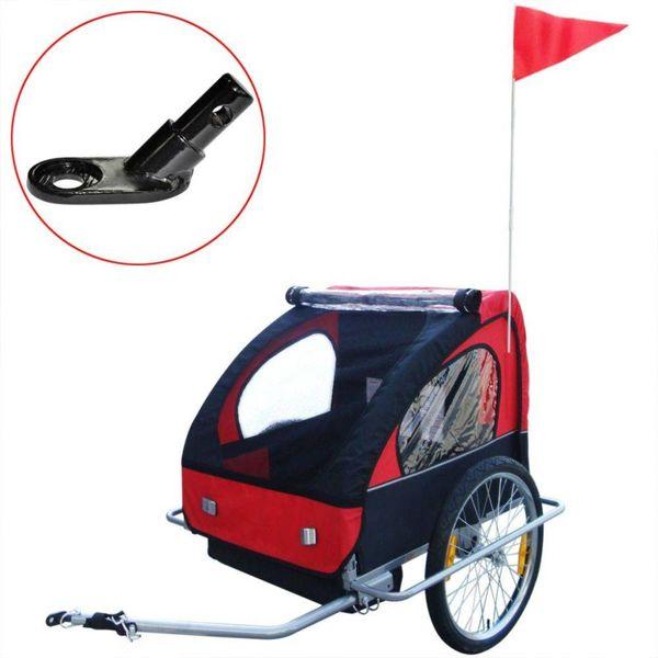 Kinderaanhangwagen met extra aansluiting rood 36 kg