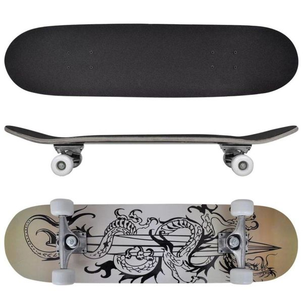 """Ovaal skateboard met draken design 9-laags esdoorn hout 8"""""""