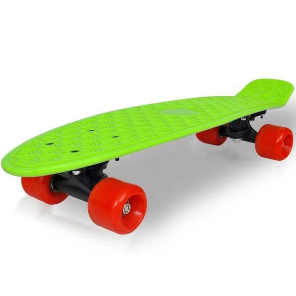 """Retro pennyboard met groene bovenkant en rode wielen 6,1"""""""