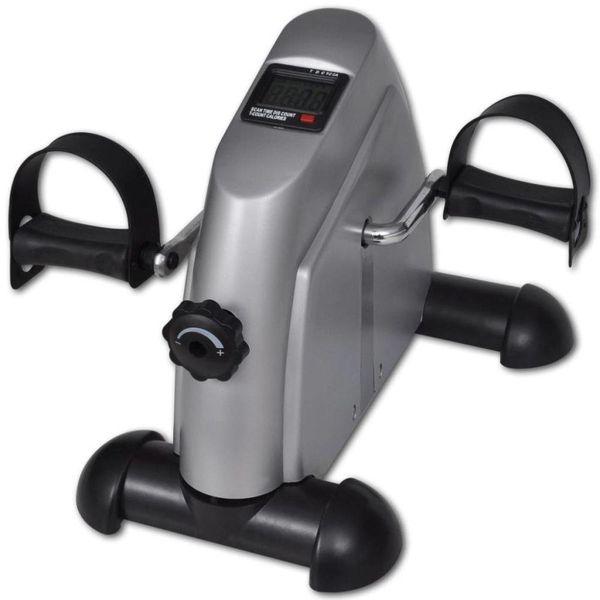 Mini Hometrainer met plastic vliegwiel (zilver)