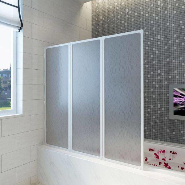 Badscherm 3 panelen vouwbaar 141 x 132 cm