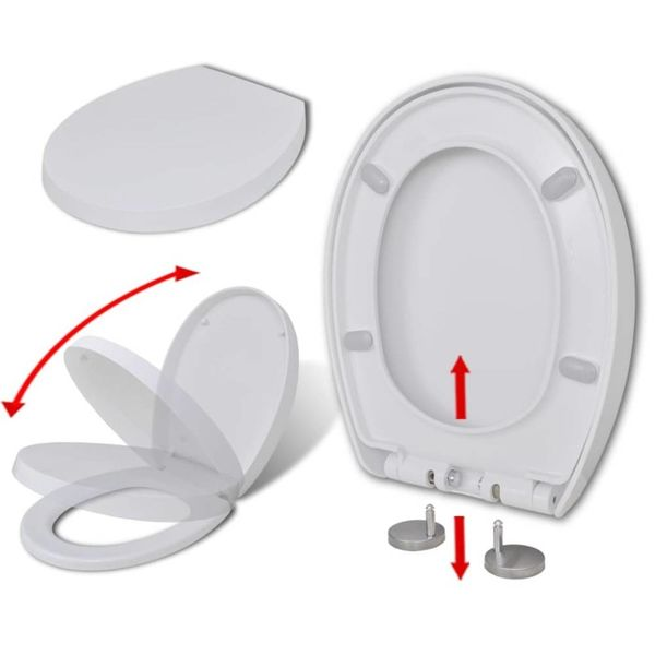 Toiletbril soft-close quick-release design ovaal wit