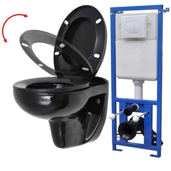 Hangend toilet met stortbak en soft-close bril keramiek zwart