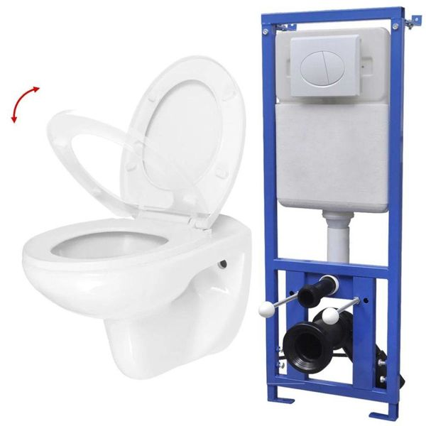 Hangend toilet met stortbak en soft-close bril keramiek wit