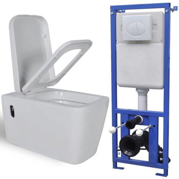 Hangend toilet met stortbak keramisch wit