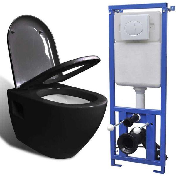 Hangend toilet met stortbak keramisch zwart