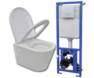Onderdelen Hangend Toilet : Vidaxl hangend toilet met verborgen stortbak keramisch wit