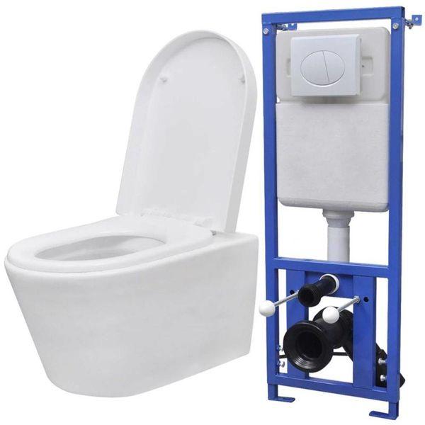 Hangend toilet met verborgen stortbak keramisch wit