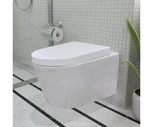 Hangend Toilet Afmetingen : Vidaxl toilet hangend keramisch badkamer wit met inbouwreservoir