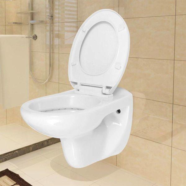 Hangend toilet met soft-close toiletbril keramiek wit