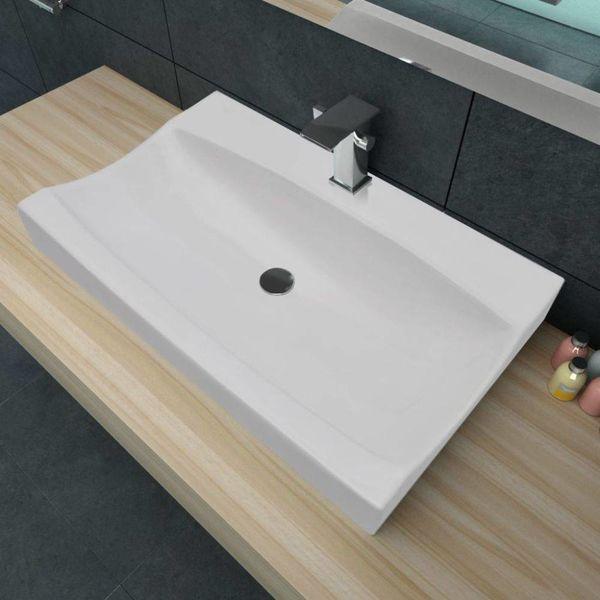 Luxe keramische rechthoekige wasbak met kraangat 62,5 x 39,5 cm (wit)