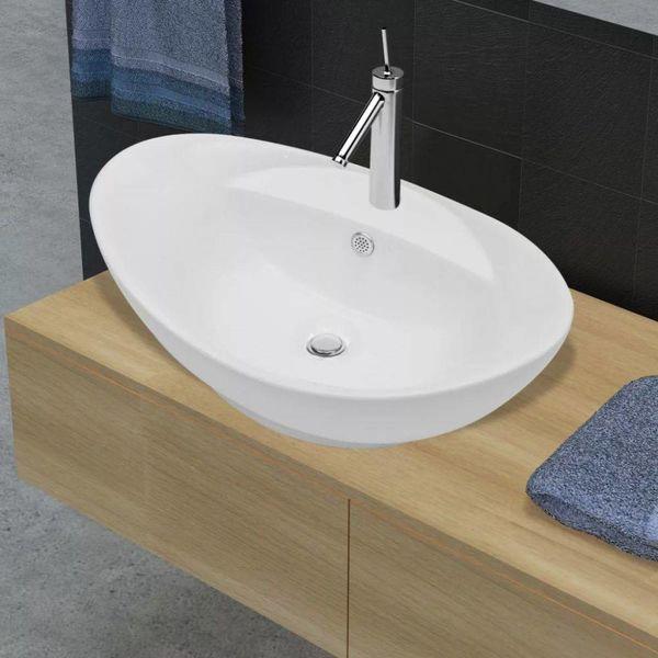 Luxe keramische wasbak ovaal met overloop (Wit)