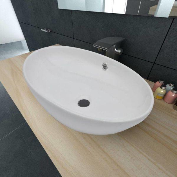 Luxe keramische wasbak ovaal met overloop 63,5 x 41,5 cm (wit)