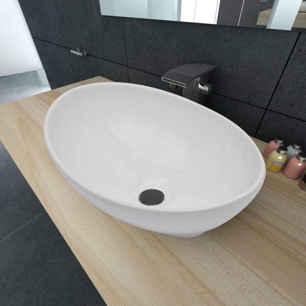 Luxe wastafel ovaal wit 40x33 cm keramiek