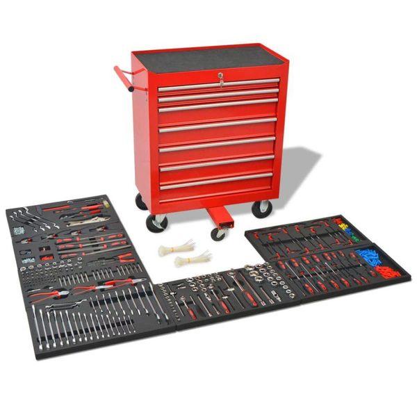 Gereedschapswagen met 1125 gereedschappen rood staal
