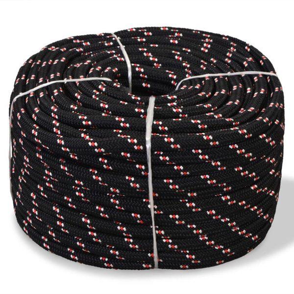 Boot touw 14 mm 50 m polypropyleen zwart