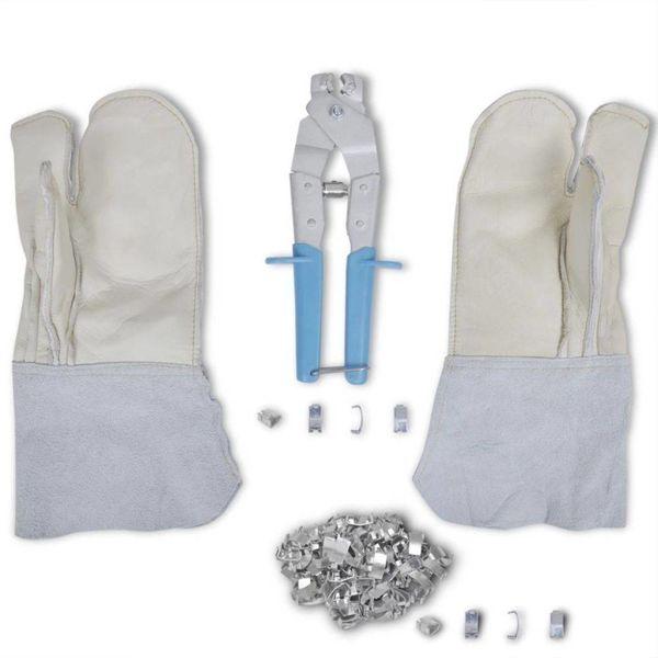 NATO prikkeldraad bevestigingsset + tang handschoenen & 200 klemmen