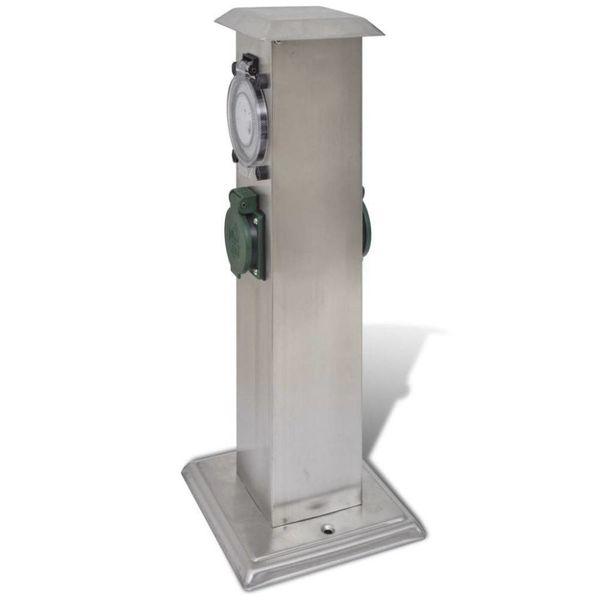 Buitenstopcontact op zuil met tijdschakelaar (roestvrij staal)
