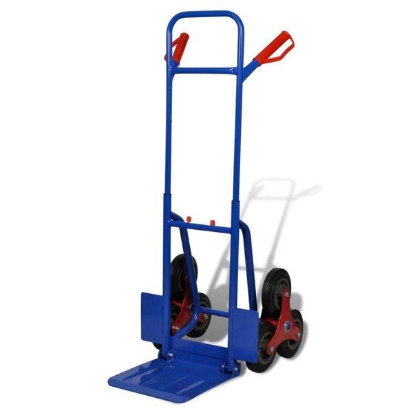 Steekwagen inklapbaar met 6 wielen blauw