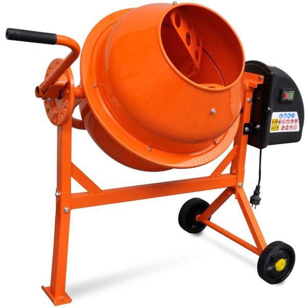 Elektrische Betonmolen oranje staal 63 L 220 W