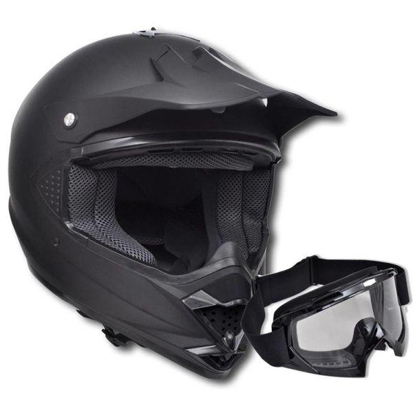 Motorcross helm XL met stofbril - zonder vizier en één lens (zwart)