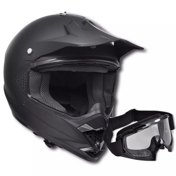 Motorcross helm S met stofbril - zonder vizier één lens (zwart)
