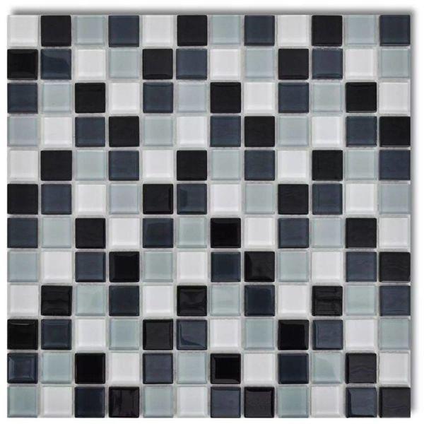 Mozaïektegels glas zwart / grijs / wit 30 stuks (2,7 m2)