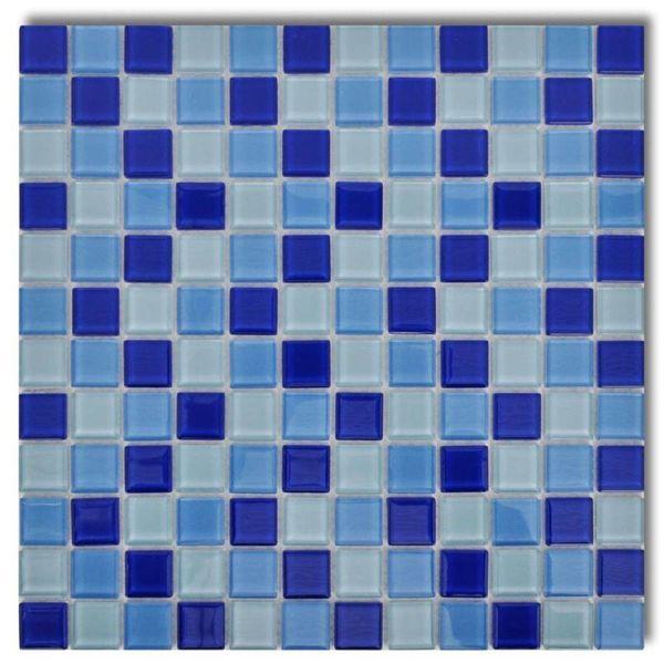 Mozaïektegels glas blauw / wit 30 stuks (2,7 m2)