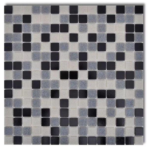 Mozaïektegels glas zwart/ wit / grijs 40 stuks (4,28 m2)