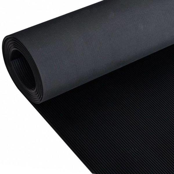 Rubberen anti-slip vloermat 2x1m fijn geribbeld