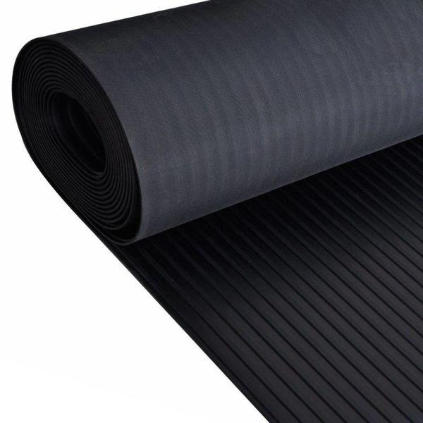 Rubberen anti-slip vloermat 2x1m breed geribbeld