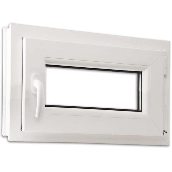 PVC raam met driedubbele beglazing en handvat links 600 x 400 mm