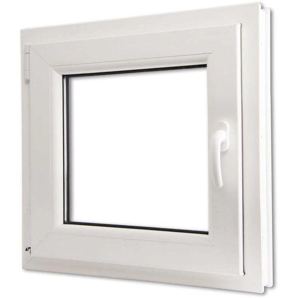 PVC raam met driedubbele beglazing en handvat rechts 600 x 600 mm
