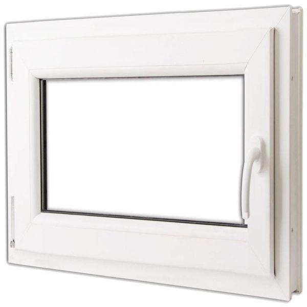 PVC raam met dubbel glas en handvat rechts 800 x 700 mm
