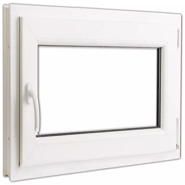 PVC raam met dubbel glas en handvat links 800 x 700 mm