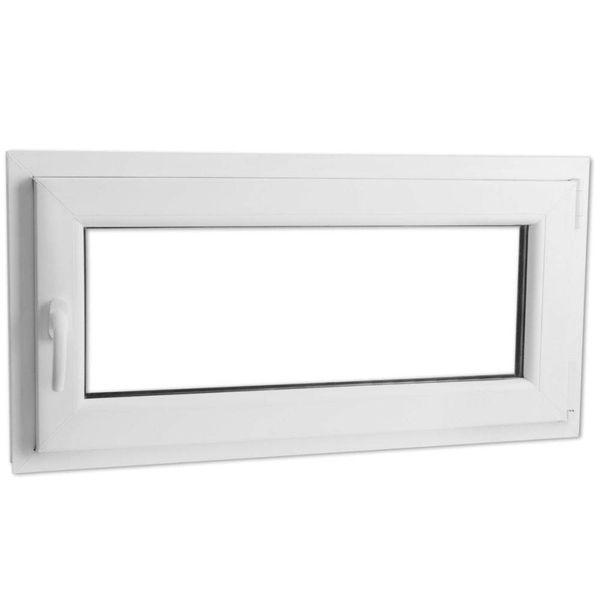 Draaikiepraam van PVC met dubbel glas en handvat links 1000 x 500 mm