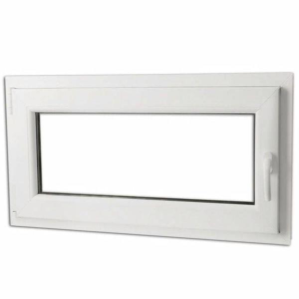 Draaikiepraam van PVC met dubbel glas en handvat rechts 900 x 500 mm