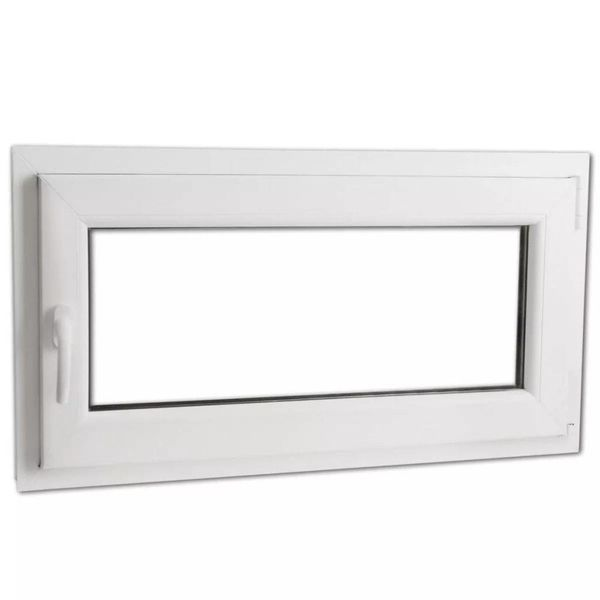 Draaikiepraam van PVC met dubbel glas en handvat links 900 x 500 mm