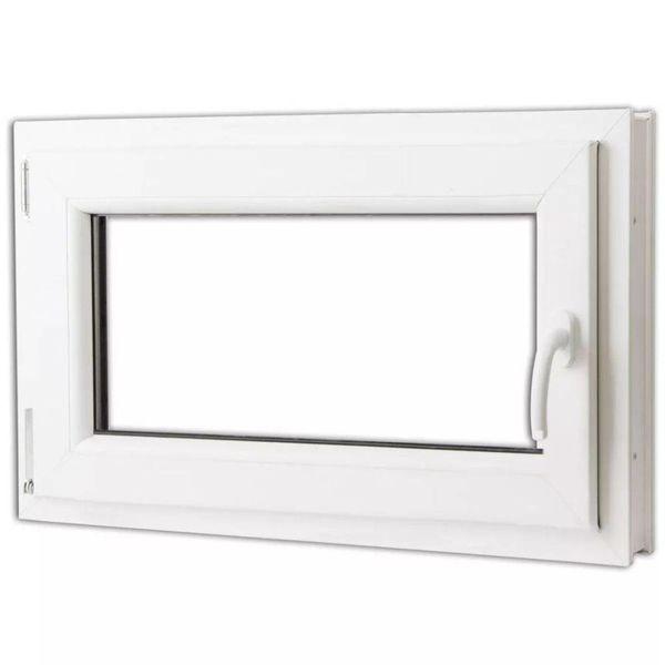 Draaikiepraam van PVC met dubbel glas en handvat rechts 800 x 500 mm